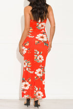 Tropical Paradise Floral Maxi Dress Coral/Red