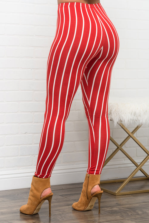 Caddie Striped Leggings - Orange