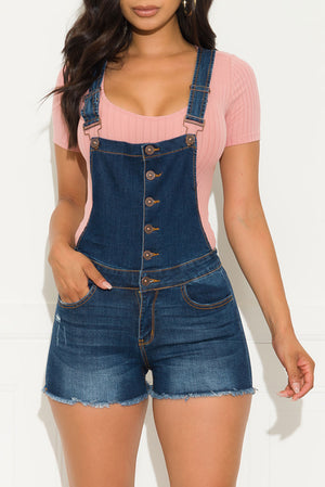 On Point Denim Overall Shorts