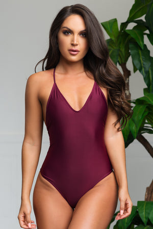 White Beach One Piece Swimsuit Burgundy