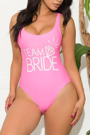 Team Bride One Piece Swimsuit Pink