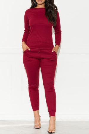 Run Away Two Piece Set Wine Red
