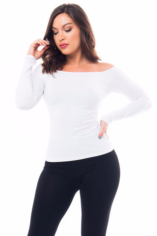 Basic White Top Long Sleeve - Fashion Effect Store  - 1