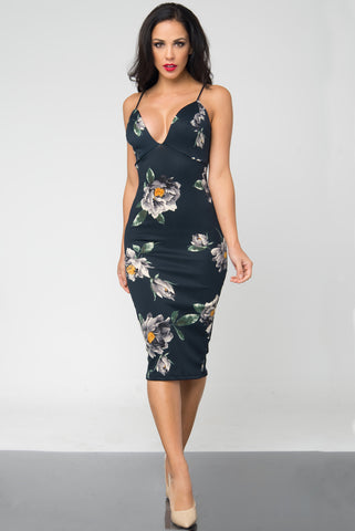 Gigi Dark Green Floral Midi Dress - Fashion Effect Store  - 1