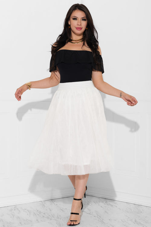 Kianna Pleated Skirt Off White