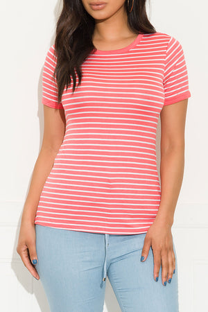 Nizza Striped Top Coral