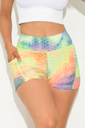 Go For It Short Tie Dye Yellow/Green/Blue