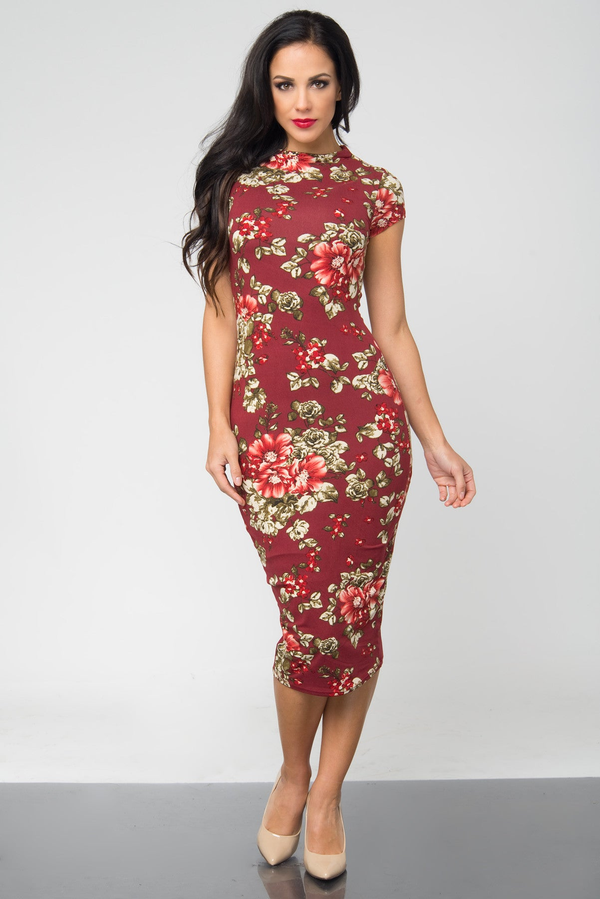 Brandi Floral Burgundy Midi Dress - Fashion Effect Store  - 1