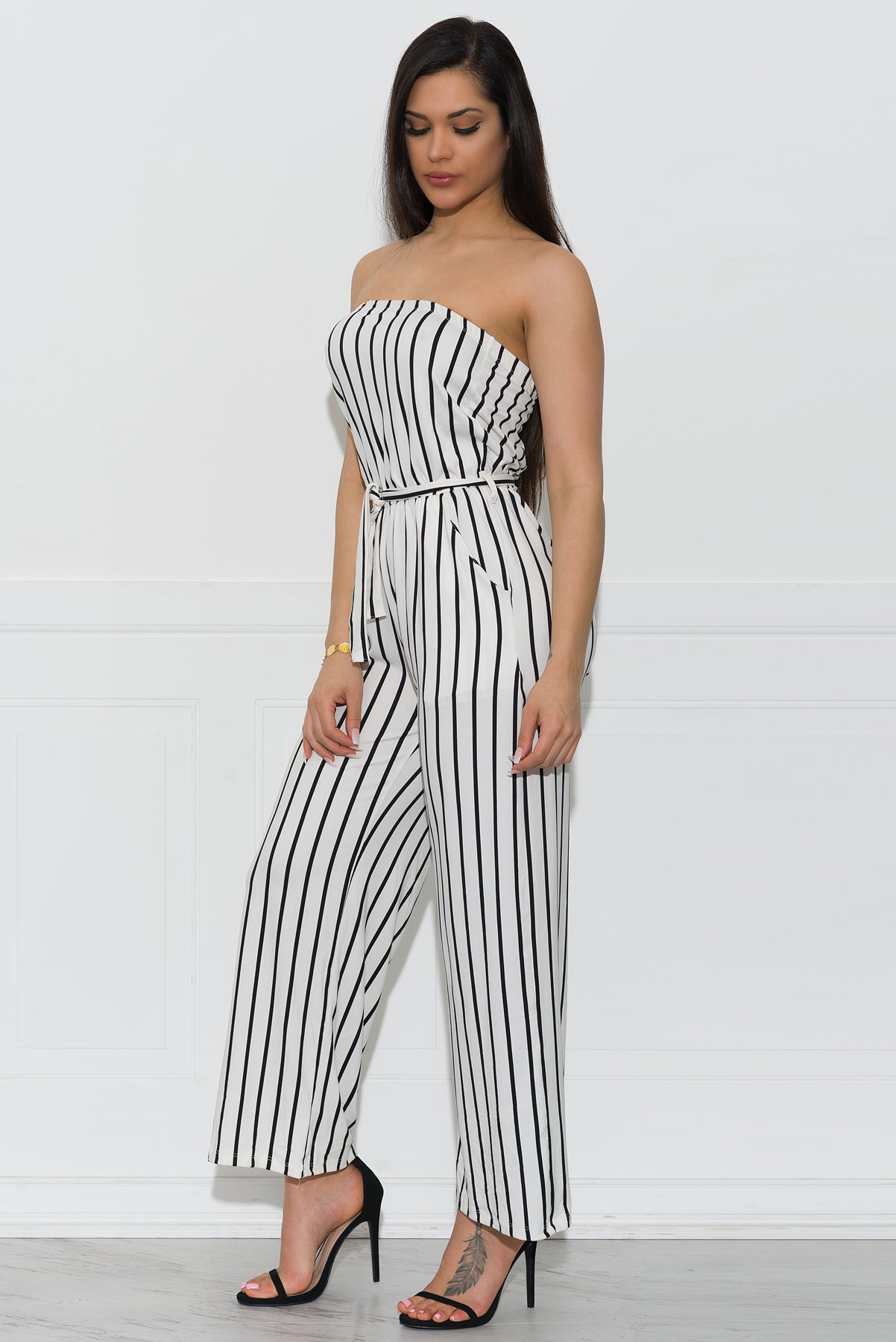 Tiffany Striped Jumpsuit - White