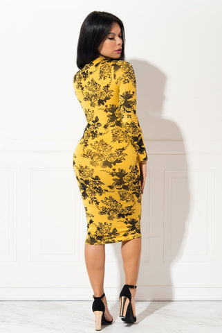 Sadie Yellow Floral Dress - Fashion Effect Store  - 2