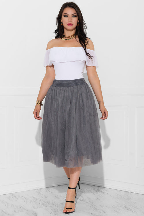 Kianna Pleated Skirt Silver Grey