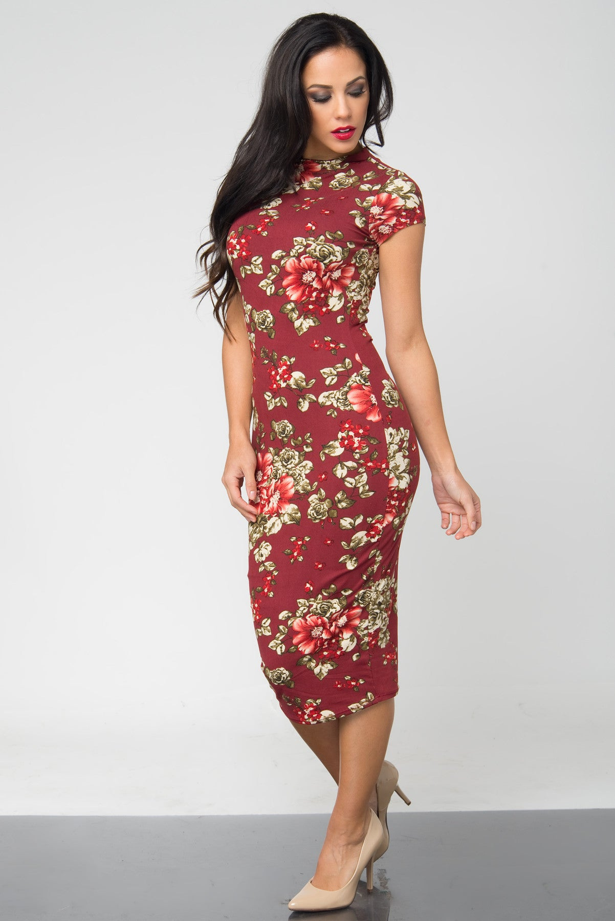 Brandi Floral Burgundy Midi Dress - Fashion Effect Store  - 2