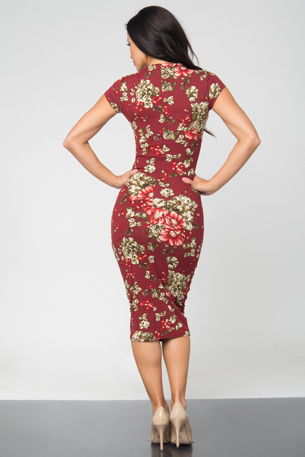 Brandi Floral Burgundy Midi Dress - Fashion Effect Store  - 3