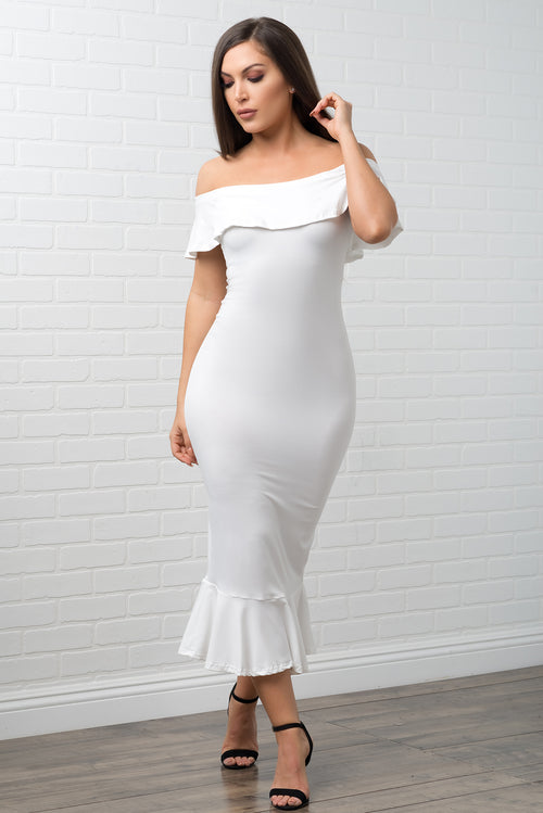 Analia Off Shoulder Dress - White