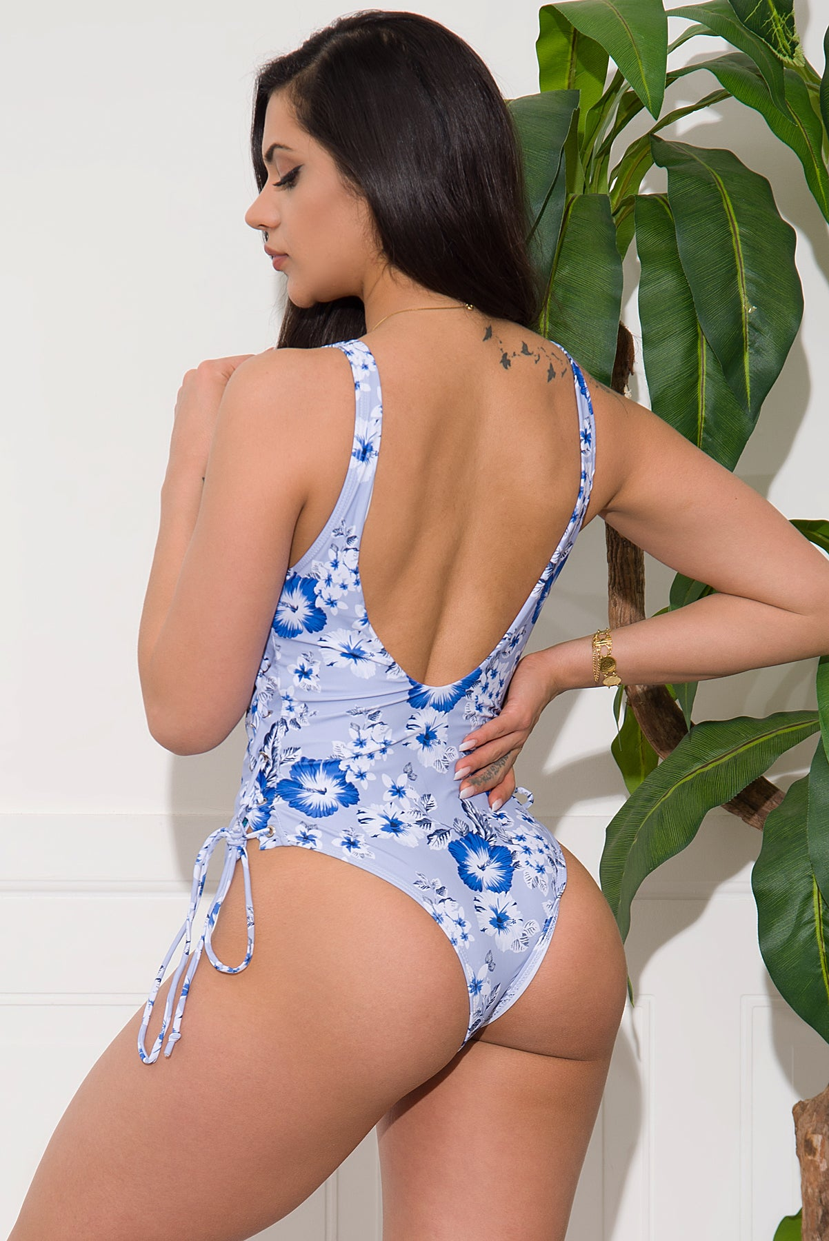 Amazon Flowers One Piece Swimsuit - Blue