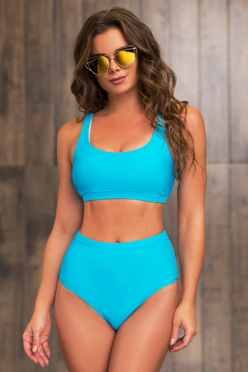 Paradise Island Two Piece Swimsuit -  Sky Blue