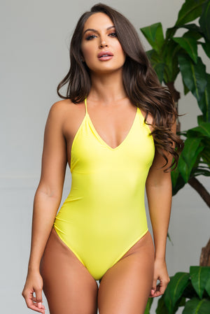 White Beach One Piece Swimsuit Neon yellow
