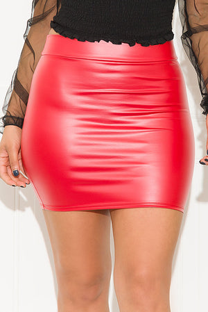 Walk It Like I Talk It Faux Leather Mini Skirt Red