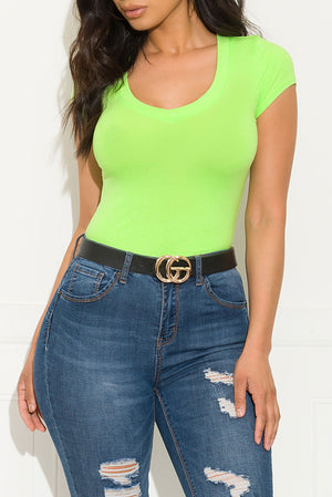 Risque Short Sleeve Top Neon Green