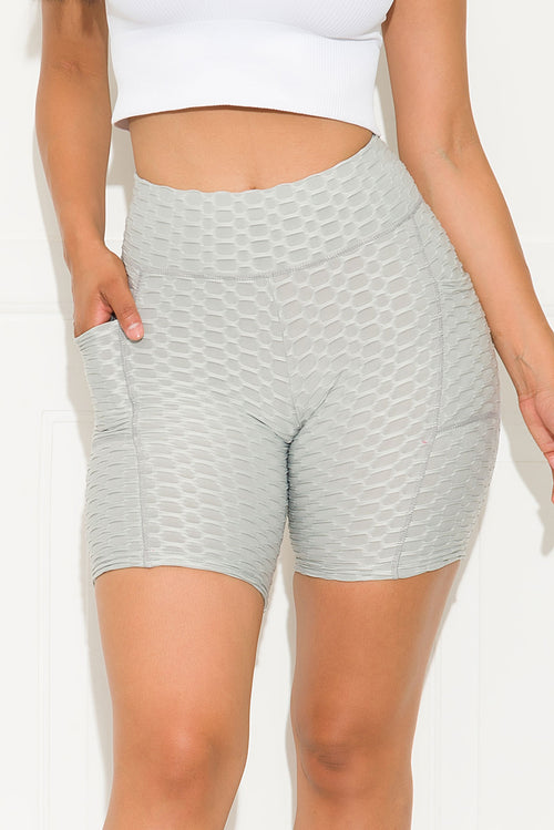 Keep It Moving  Butt Lifting Biker Short Grey