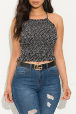 Blossom Floral Top Black And White