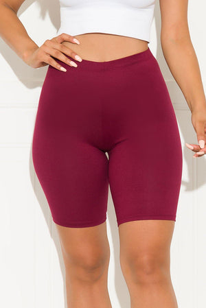 Right On Biker Short Burgundy
