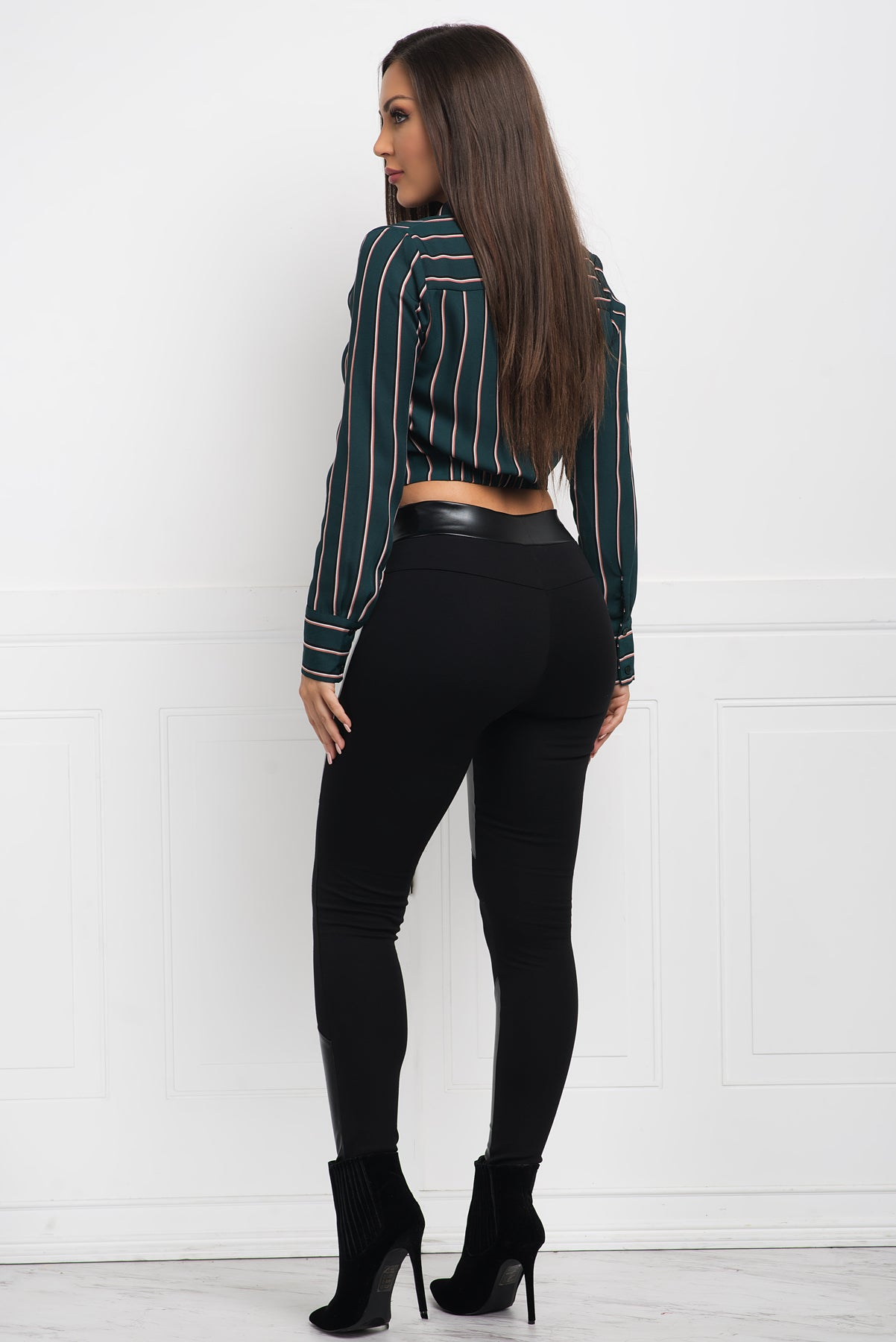 Xyleena Striped Blouse- Green