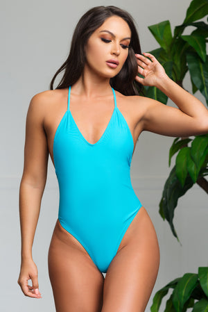 White Beach One Piece Swimsuit Sky Blue