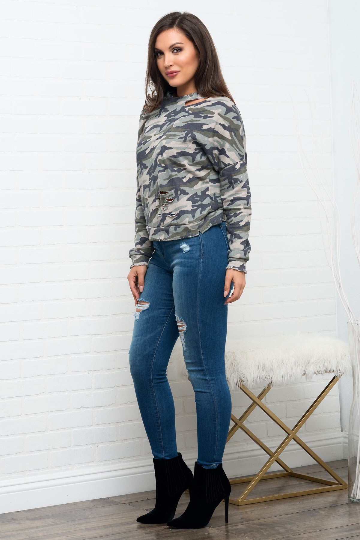 Janae Distressed Sweater Top - Camo