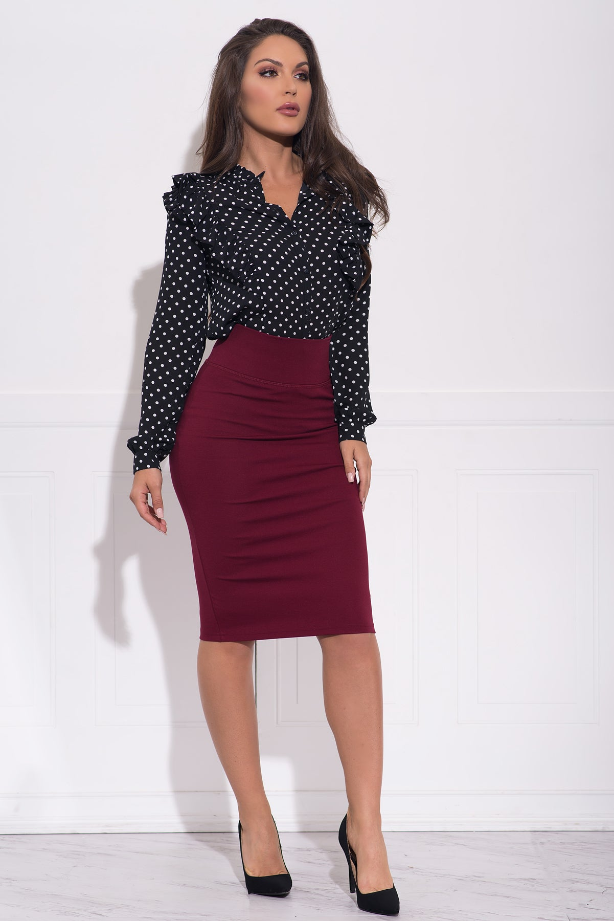 ee04a3f0e9 Andy Pencil Skirt -Burgundy – Fashion Effect Store