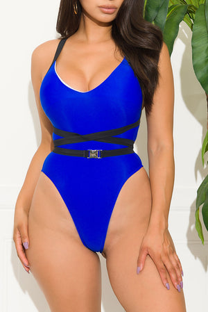 Vacation Mood One Piece Swimsuit Royal Blue