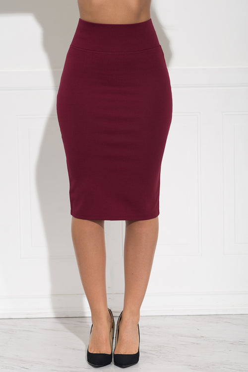 Andy Pencil Skirt -Burgundy