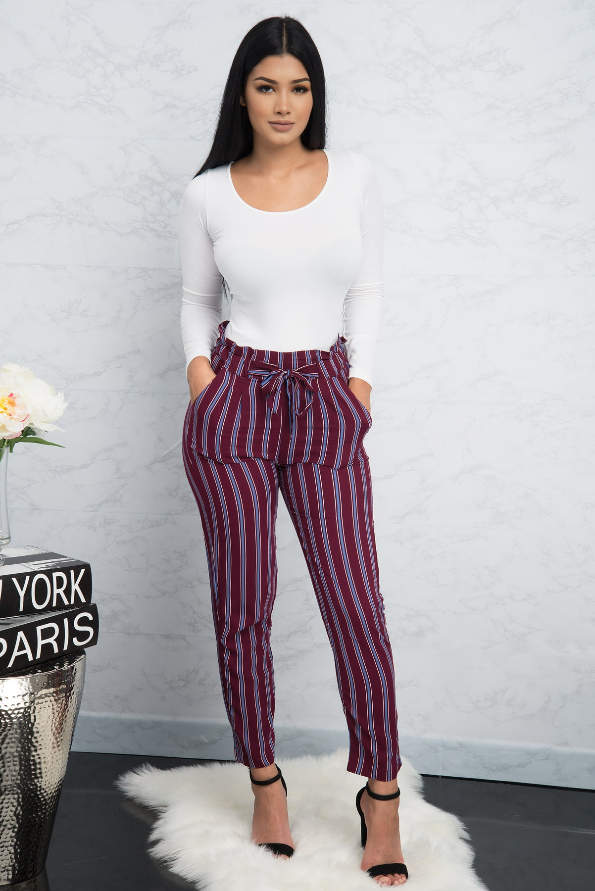 Giselle Striped Pants -  Burgundy/Blue
