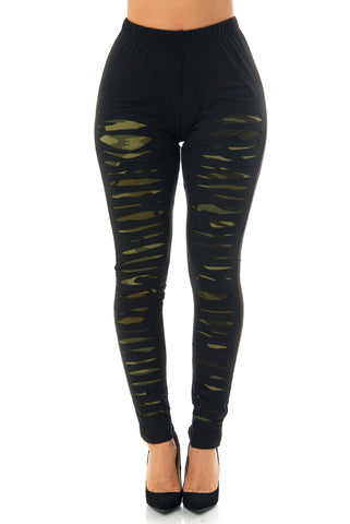 Ninette Camo Ripped Leggings - Fashion Effect Store  - 1