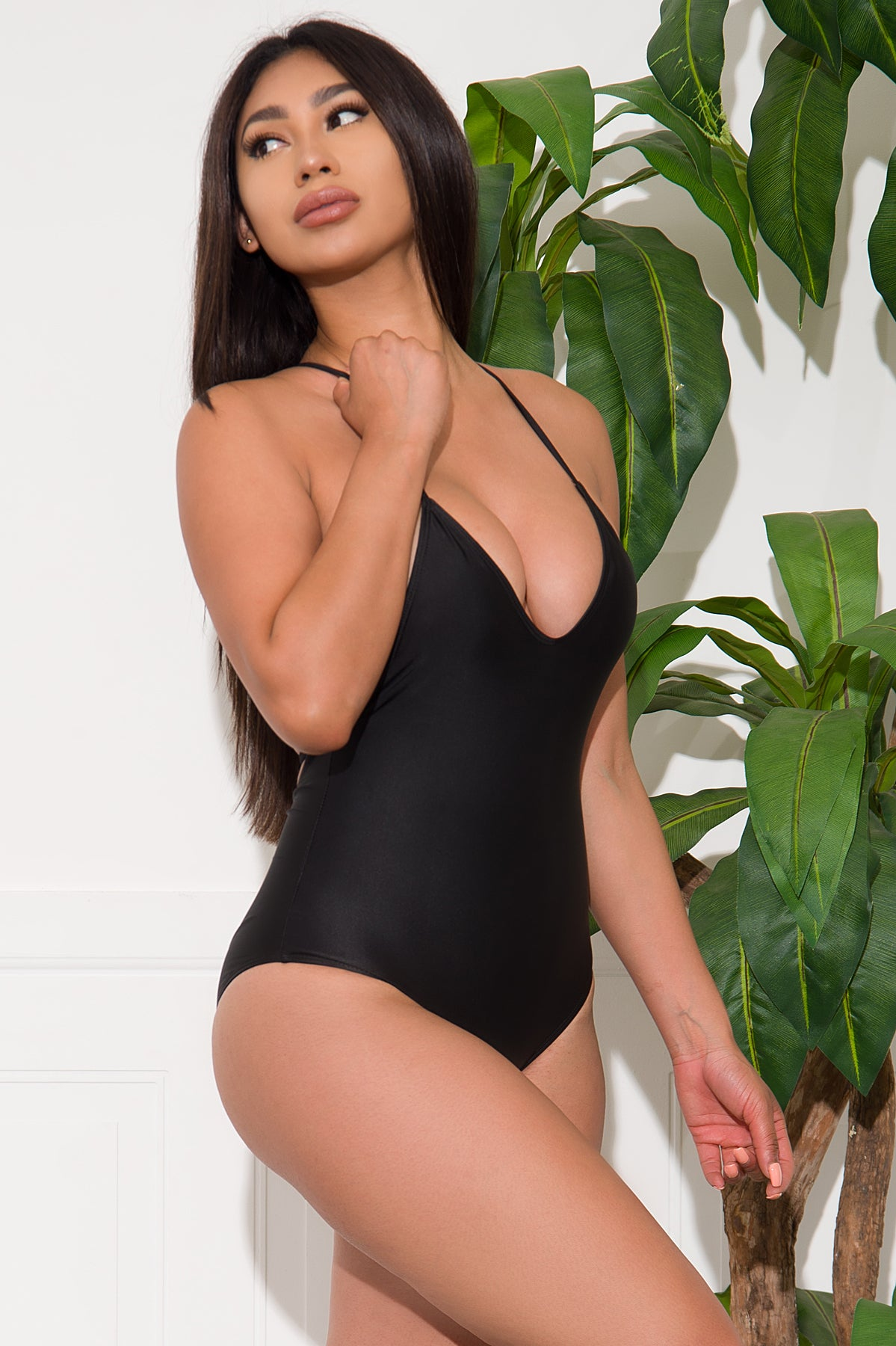 White Beach One Piece Swimsuit - Black