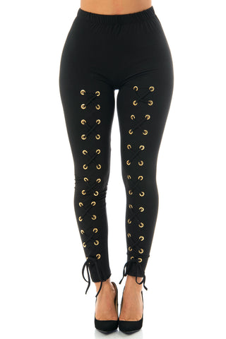 Fanny Black Laced Up Leggings - Fashion Effect Store  - 1