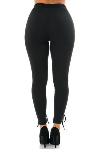 Fanny Black Laced Up Leggings - Fashion Effect Store  - 3