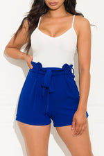 Tell Me More Romper Royal Blue/White