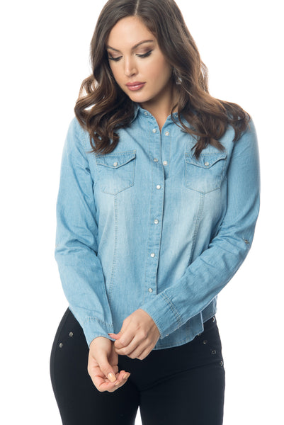Lucy Denim Blouse - Fashion Effect Store  - 1