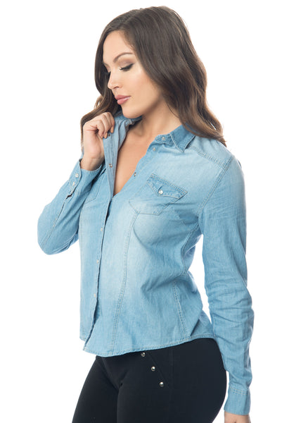 Lucy Denim Blouse - Fashion Effect Store  - 2