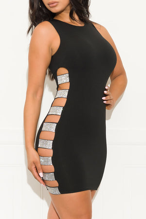 Opening Up Mini Dress Black