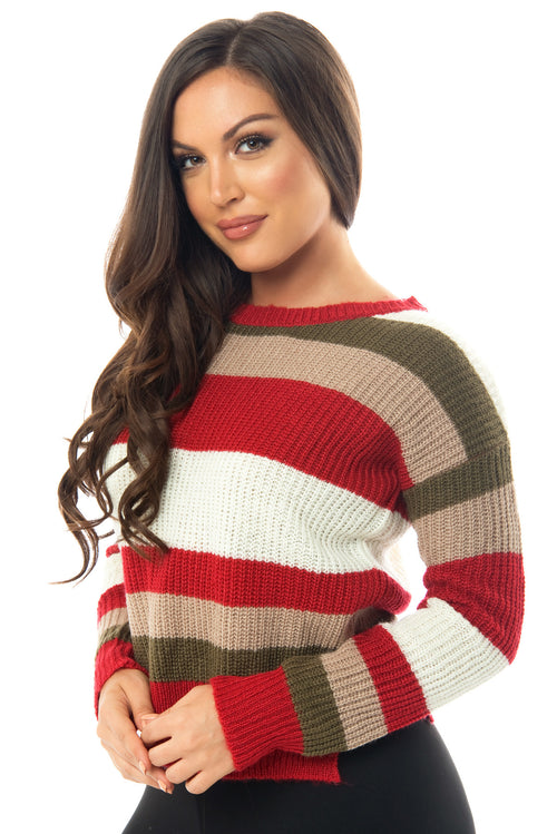 Megan Striped Sweater - Fashion Effect Store  - 1