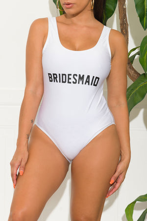 Bridesmaid One Piece Swimsuit White