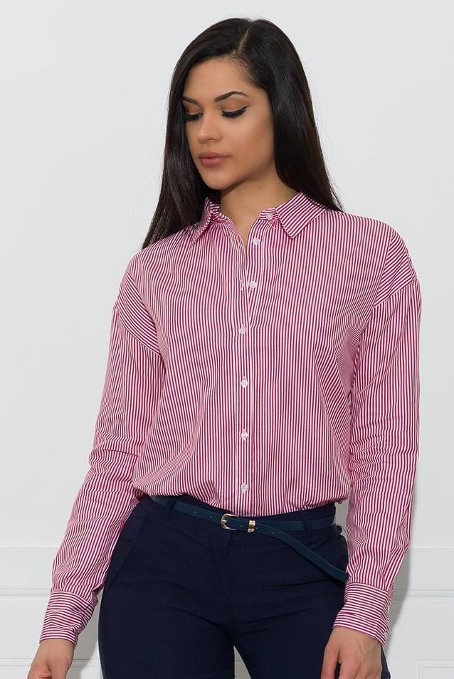 Terry Striped Blouse - Red