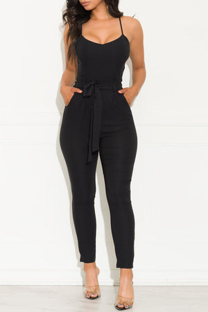 Self Belted Jumpsuit Black