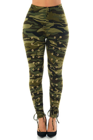 Christa Camo Laced Up Leggings - Fashion Effect Store  - 1