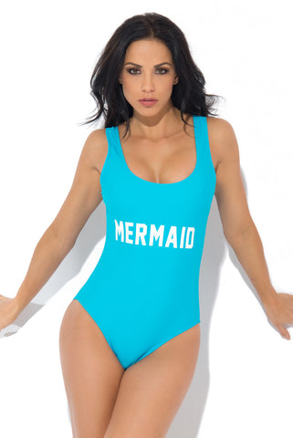 Mermaid One Piece Swimsuit TEAL - Fashion Effect Store  - 1