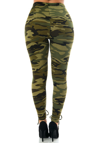 Christa Camo Laced Up Leggings - Fashion Effect Store  - 2