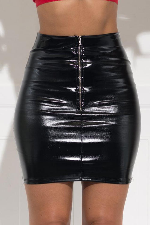 Delilah Faux Leather Mini Skirt - Black