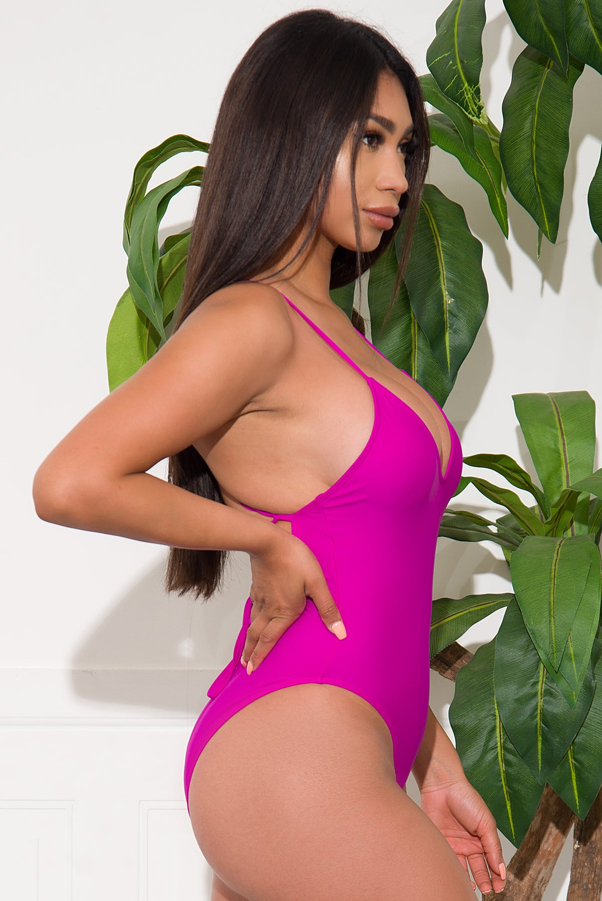 White Beach One Piece Swimsuit - Purple